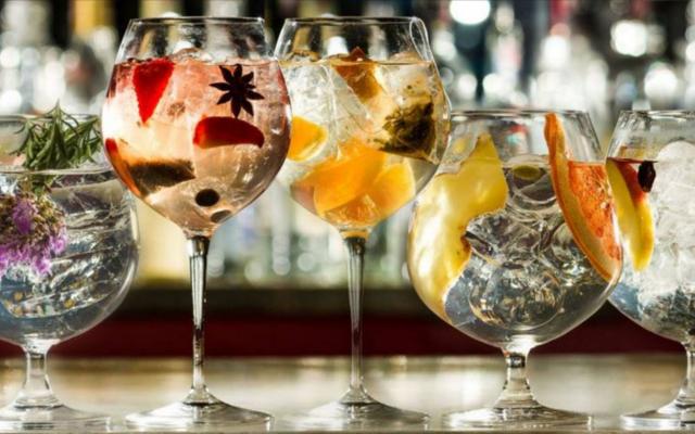Beautiful Gin and tonics on a bar