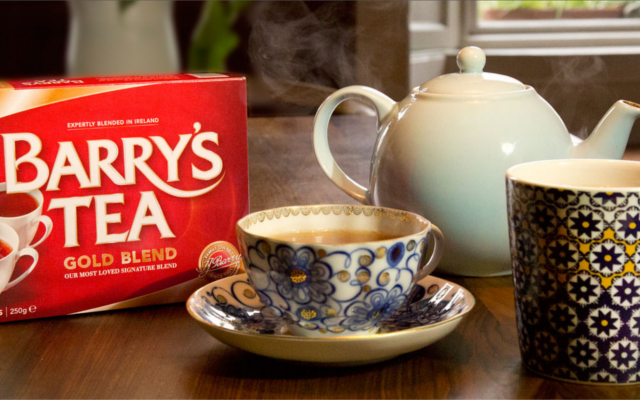 Barry's tea gold blend bags and china tea cups