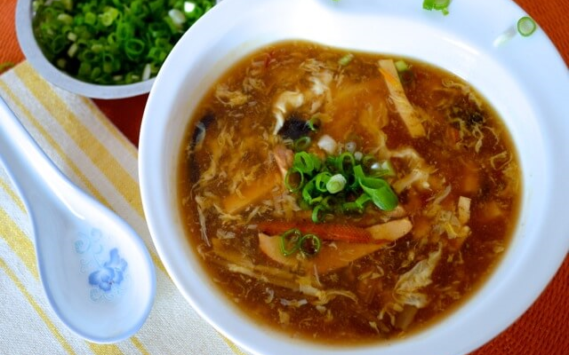 Hot and sour soup from sichuan china