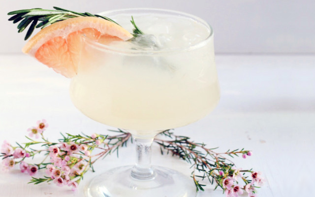 Rosemary Greyhound cocktail with grapefruit and rosemary sprig to garnish