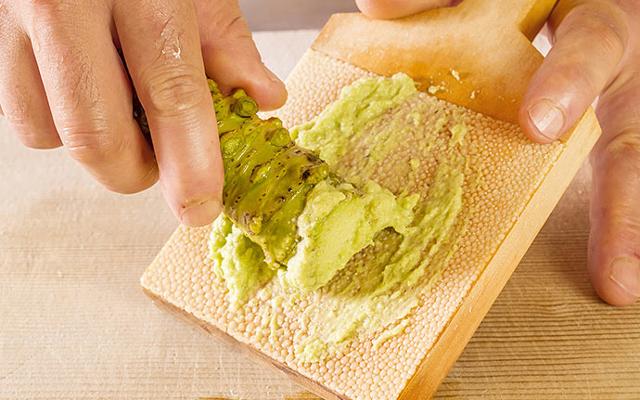Grating green wasabi