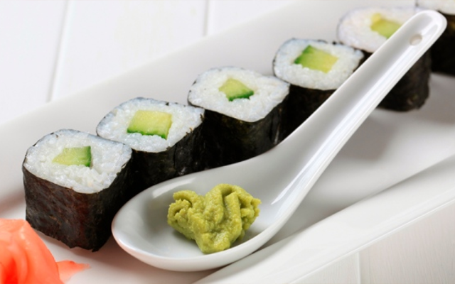 Sushi with wasabi pea filling
