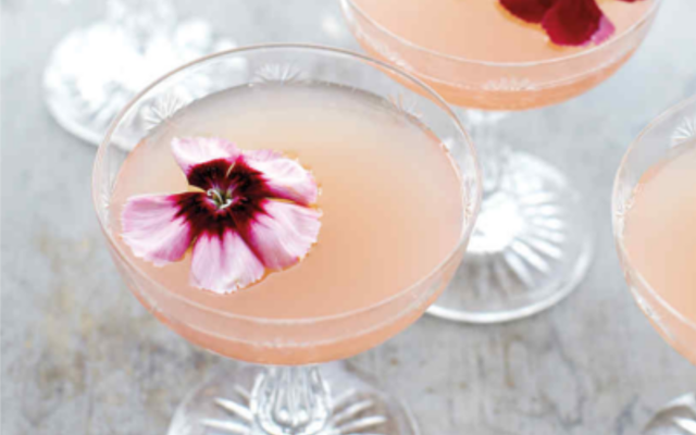 Lillet rose pink cocktail with edible flower to garnish