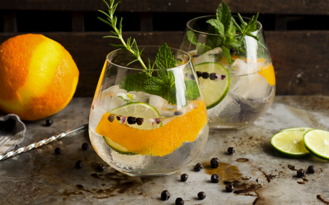 Gin and Tonics in tumblers with mint orange zest juniper berries and rosemary sprigs to garnish over ice