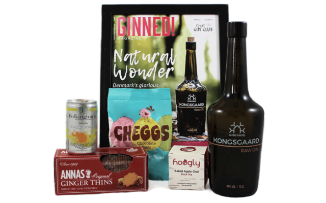Craft Gin Club April box of the month anna's ginger thins, folkington tonic, cheggs, Ginned, hoogly tea and kongsgaard gin