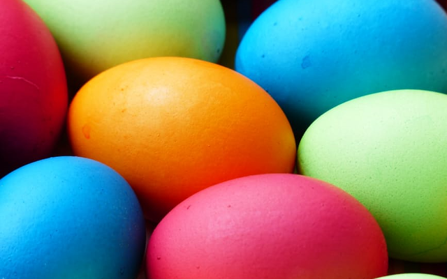 Painted bright coloured eggs