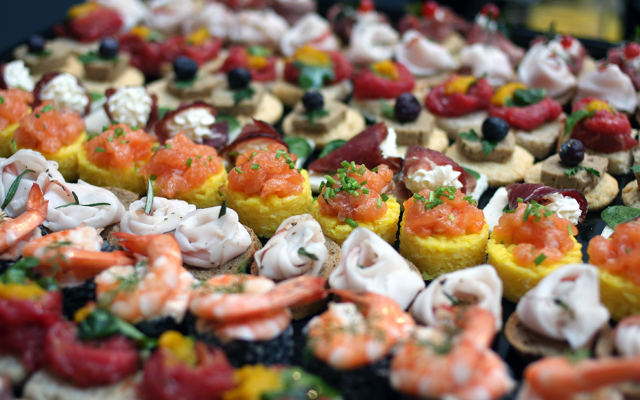 Canapes and aperitivo table salmon cream cheese