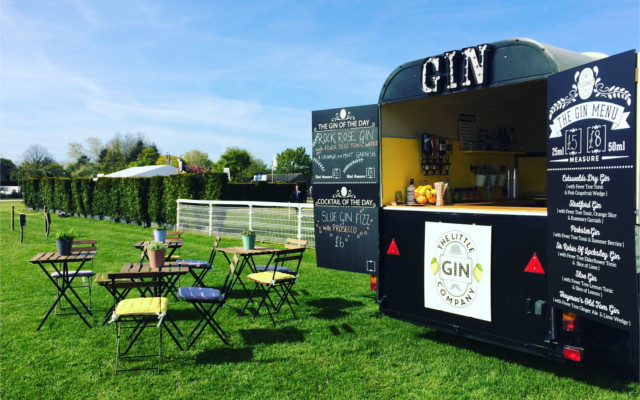 Little Gin Bar Mobile Gin Joint in summer garden serving great drinks and cocktails