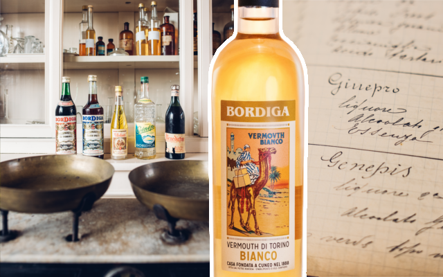 Bordiga vermouth bottle with aperitifs in background and a letter