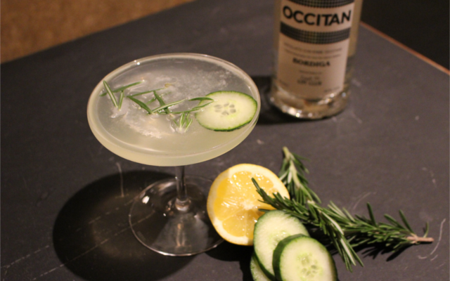 Occitan Gin and Tonic in champagne saucer glass with lemon cucumber and rosemary garnish