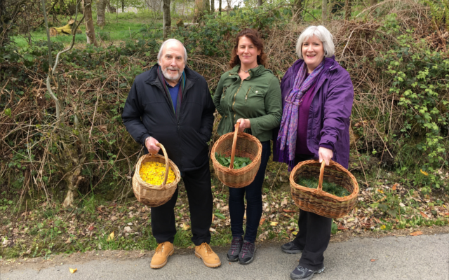 Roger Treva Geraldine visit Glendalough Gin Distillery Tour collecting botanicals in baskets