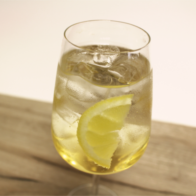 Vermouth and Tonic in tumbler with a slice of lemon