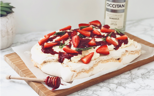 Occitan Gin Boozy Strawberry and Rosemary Gin Pavlova Dessert