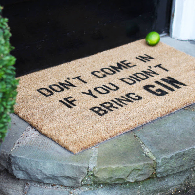 Gin lovers welcome door mat