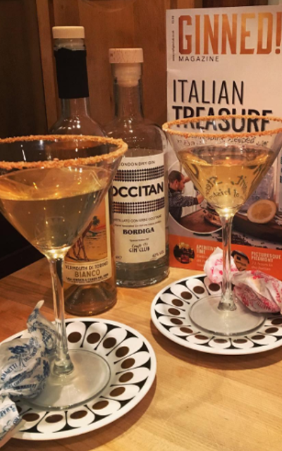 May Ginstagram runner up occitan gin and vermouth martini cocktails and toffees