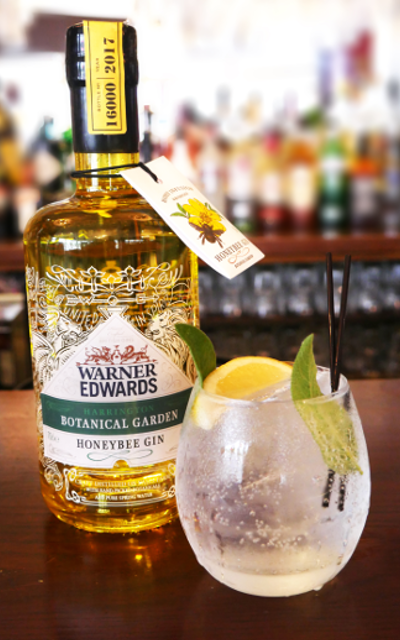 Warner Edwards Honeybee Gin and tonic on a bar garnished with lemon and mint