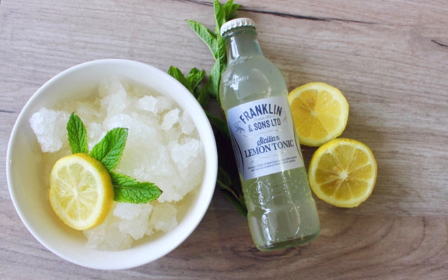 gin and tonic granita using lemons and franklin and sons lemon tonic