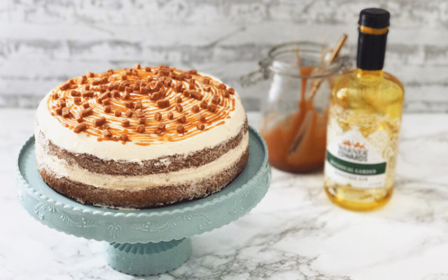 apple honey cinnamon gin spiked caramel cake with warner edwards honeybee gin from gin baker