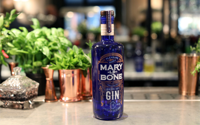 July Gin of the Month Marylebone Gin on bar