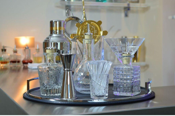 Luxury Cocktail making set on tray including strainer shaker measure stirrers and glasses