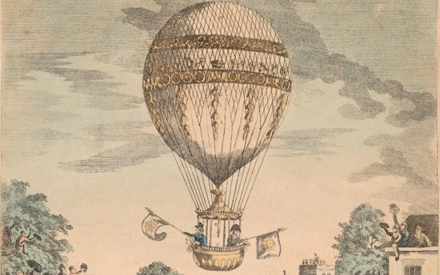 georgian victorian hot air balloon with flags painting cartoon