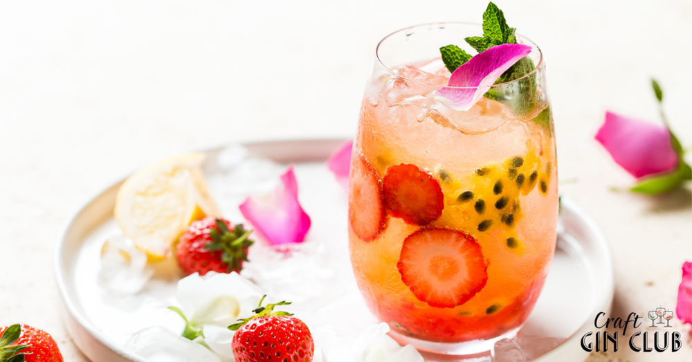pretty fruity refreshing strawberry passion fruit gin crush cocktail