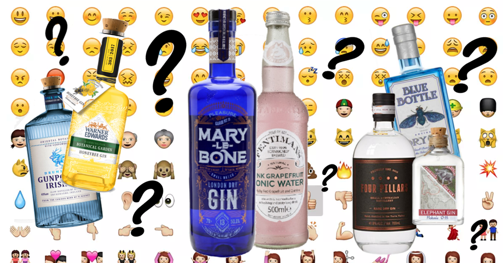 World emoji day gin quiz. Four pillars gunpowder marylebone warner edwards honeybee gin fentimans blue bottle elephant gin
