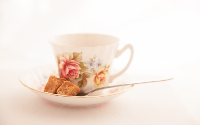 Vintage floral china teacup in saucer mellas fudge
