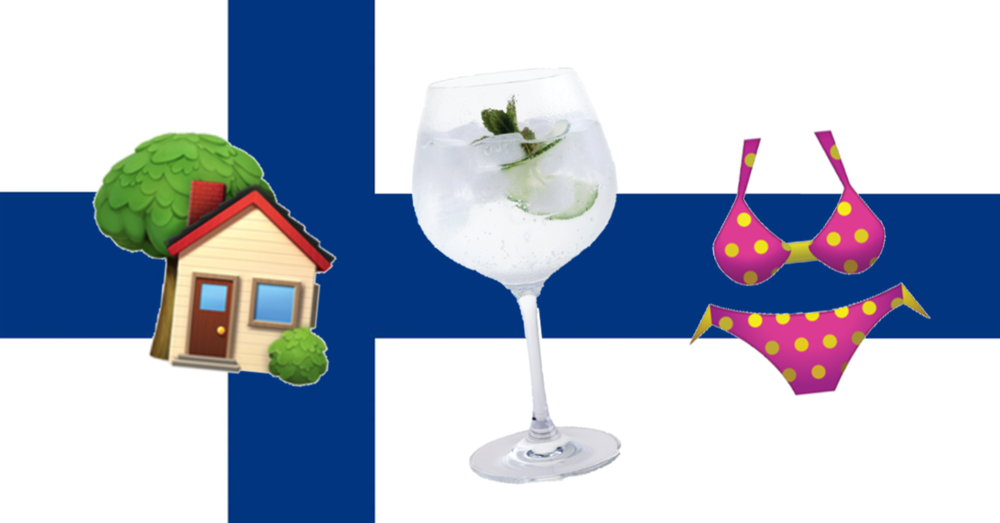 Finland flag drinking in pants kalsarikannit gin and tonic emoji