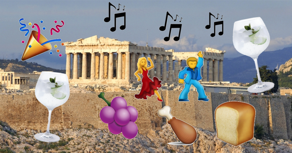 ancient greece athens acropolis party emojis dancing music food gin and tonic drinking