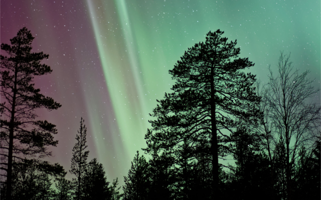 Northern lights in Finnish wilderness