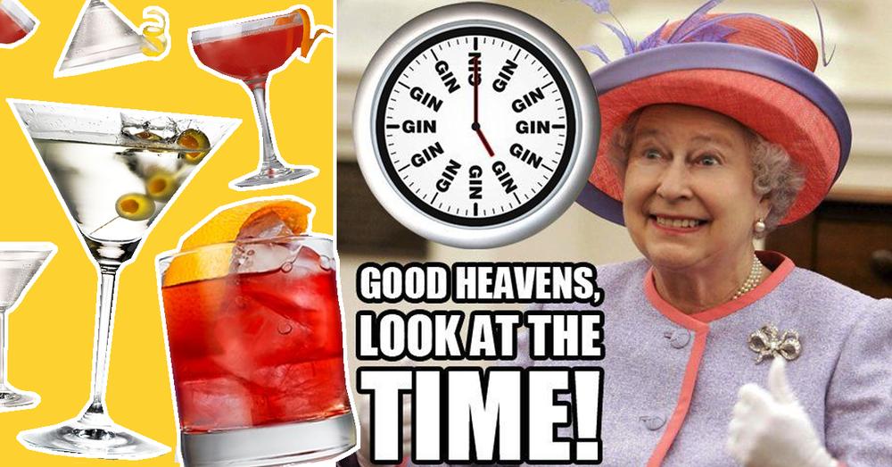 queen elizabeth II gin drinker gin o clock