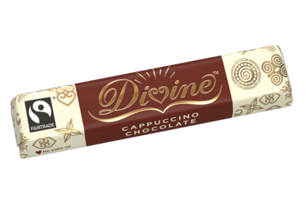 divine milk and white cappuccino fairtrade chocolate bar