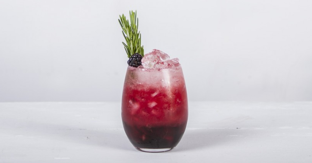 blackberry and rosemary bramble gin cocktail