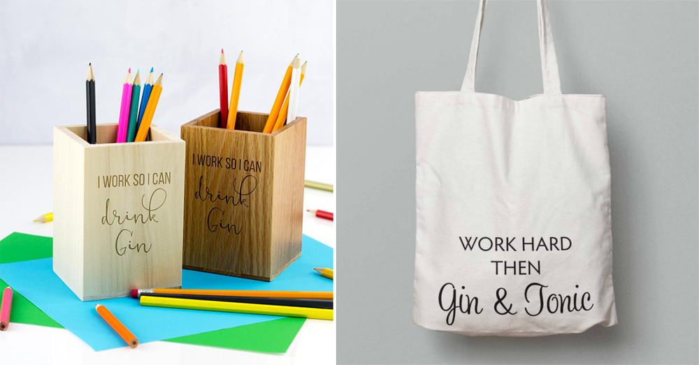 Gin themed items office tote bag