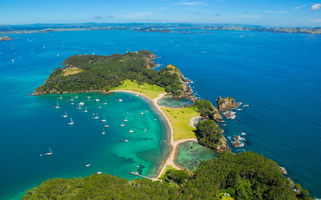 New Zealand island aerial view