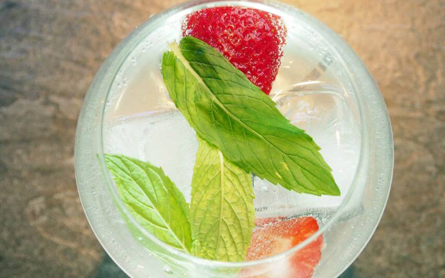 Gin and tonic with strawberry and basil