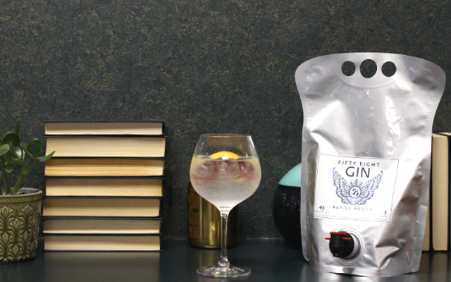 58 Gin Bag with a gin and tonic, books and plant