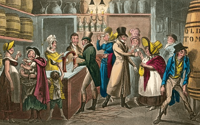 English Victorians drinking gin