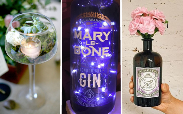 DIY gin centrepieces
