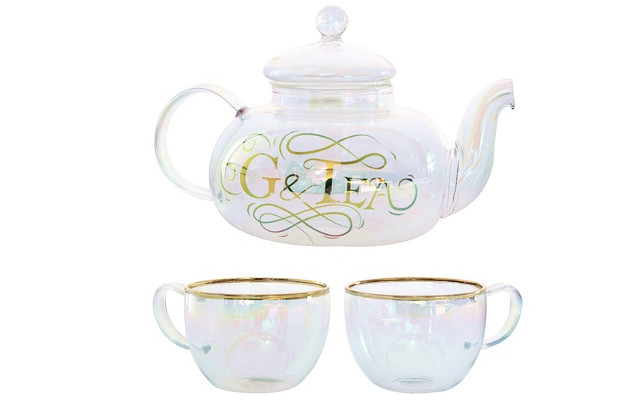 Glass g and t cocktail teapot set