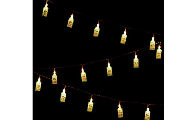 Gin bottle string lights