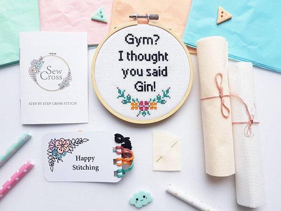 Gin Not Gym Sew Cross Stitch Set