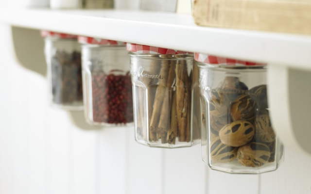 bonne maman jars used as spices holders