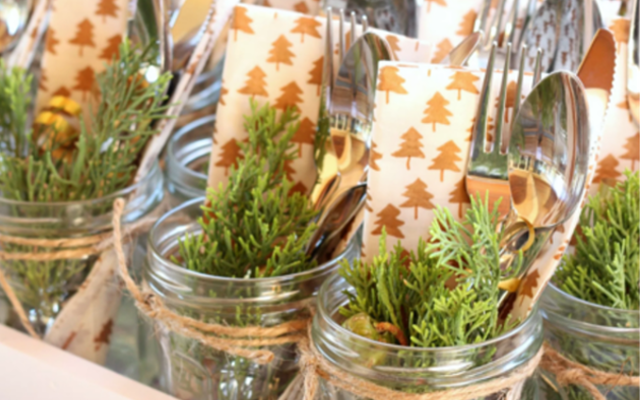 bonne maman jars used as festive cutlery holders