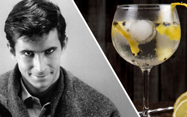 Gin and tonic and picture of Anthony Perkins