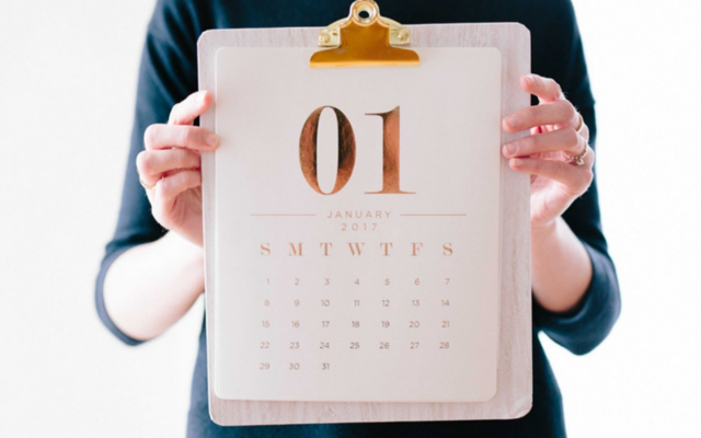 Lady holding a calendar