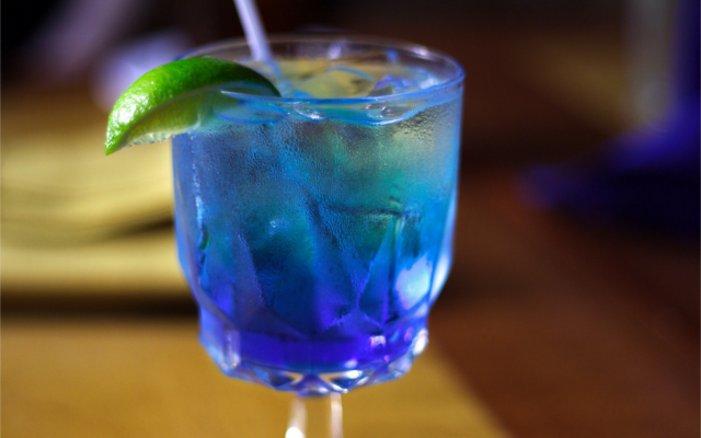 Blue gin vodka vermouth cocktail lime