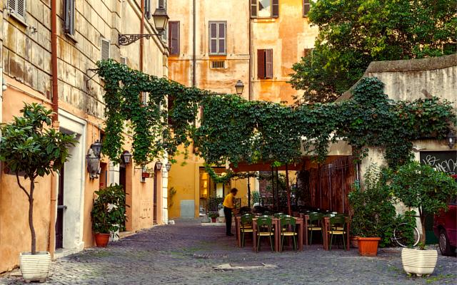 Italy Tuscan cobblestone streets