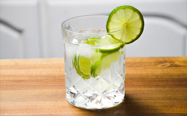 gin rickey in a tumbler with ice and a lime slice
